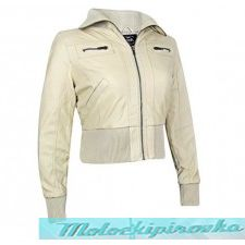 Active Womens Ribbed Bomber Cream Casual Jacket