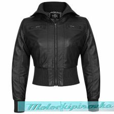 Active Womens Ribbed Bomber Black Casual Jacket