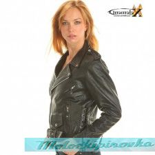 Xelement Ladies Classic Black Biker Motorcycle Jacket