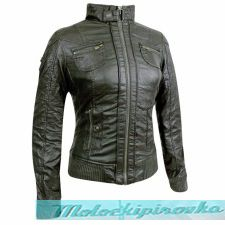 Bershka Womens Moto Army Green Casual Jacket