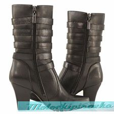 Мотоботы для женщин Xelement Womens 5-Buckles Leather Biker Boots