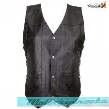 10 Pocket Ladies Cowhide Leather Motorcycle Vest