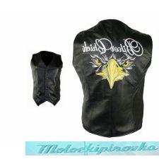 Ladies Black Biker Chick Embroidered Leather Vest