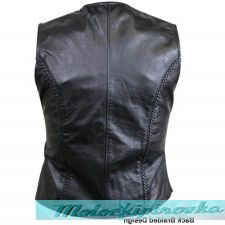 Classic Ladies Braided Leather Vest with Front Zipper Closure