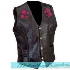 Ladies Black Lady Biker Embroidered Leather Vest