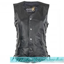 Xelment Womens Black Leather Motorcycle Vest with Front Laces