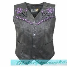 Xelement XS-125055 Womens Leather Biker Vest with Rose Inlay and Braid