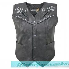 Xelement XS-125066 Womens Leather Biker Vest with Rose Inlay and Braid