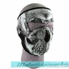 Neoprene Face Mask, Glow in the Dark, Black & White Skull Face