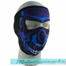 Neoprene Face Mask, Blue Chrome Skull