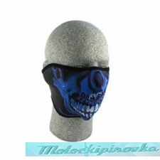 Zan Headgear Blue Chrome Skull Neoprene Half Face Mask