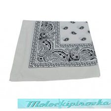 100% Cotton White Paisley Headband