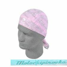 Zan Headgear Light Pink Skull Paisley Cotton Flydanna