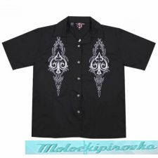 Dragonfly Roadhouse Tribal Spades Button up Short Sleeve Shirt