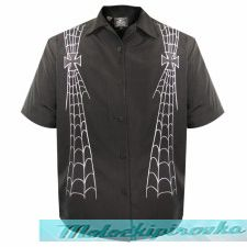 Rockhouse Dancing Skeletons Black Button up Short Sleeve Shirt