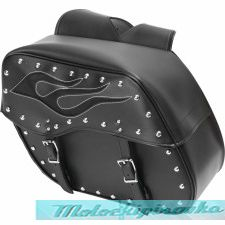 Black Chrome Studded Motorcycle PVC Medium Size Saddlebag