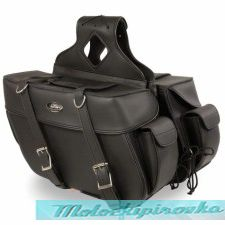 Black Plain Zip-Off PVC Throw Over Rounded Saddlebags