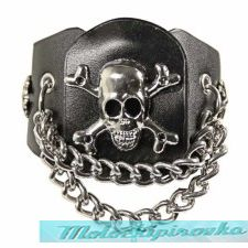 Corium Skull and Crossbones with Studs Bracelet