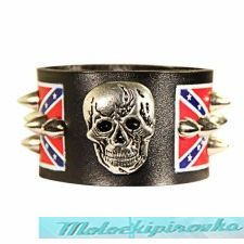 Confederate Flag Large Skull Spike Bracelet
