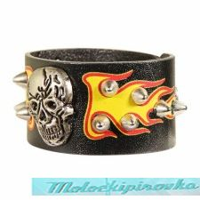 Large Skull and Flames Corium Bracelet
