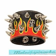 Spike and Flames with 3 Skulls Corium Bracelet