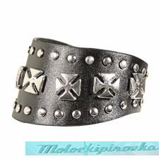 Double Row Studded with Chopper Cross Bracelet