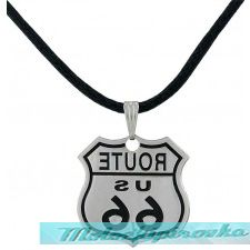 Route 66 Logo Black Cord Necklace