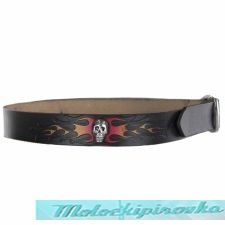 Mens Black Skull & Flame Leather Belt