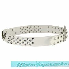 Women's Rhinestone White PVC Belt