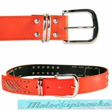 Women's Chains & Studs Red PVC Belt