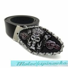 Mens Black Screaming Skull Leather Belt