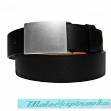 Plaint Buckle Black PU Leather Belt
