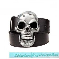 Large Skull Black Leather Belt