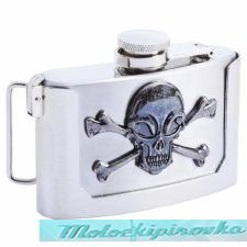 Skull & Crossbones 3 oz. Stainless Steel Belt Buckle Flask