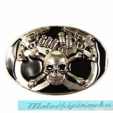 Skull and Crossbones with Gun Handcuffs Buckle