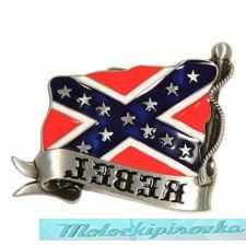 Wavy Rebel Flag Buckle