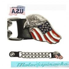 Motorcycle U.S. Military Vets Eagle USA Flag Leather Vest Extender