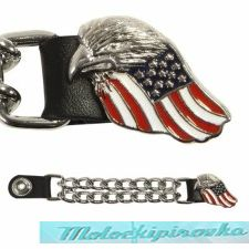 Motorcycle Eagle USA Flag Leather Vest Extender