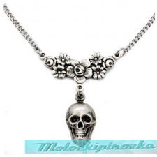 Skull With Rose Choker Necklace