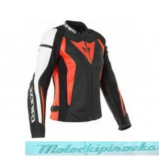 DAINESE NEXUS LEATHER JACKET - BLACK/FLUO-RED/WHITE куртка кож муж 54