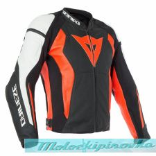 DAINESE NEXUS LEATHER JACKET - BLACK/LAVA-RED/BLACK  куртка кож муж 48