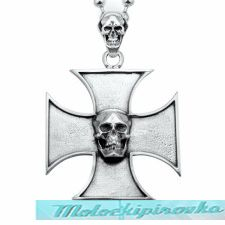 Sterling Silver Small Iron Cross Skull Pendant with Skull Bail