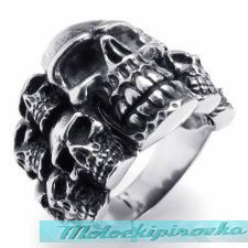 Mens Stainless Steel Triple Stripe Skull Center Band Ring