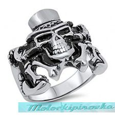 Mens Stainless Steel Skull with Top Hat Ring