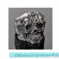Mens Stainless Steel Cyborg Skull Ring