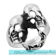 Mens Stainless Steel Chained Skulls Ring