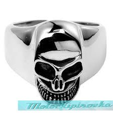 Mens Stainless Steel Angry Skull Ring