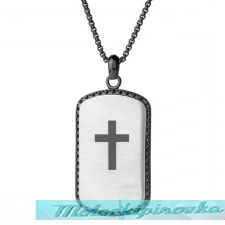 Stainless Steel Dog Tag Pendant with Black Outline