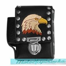 Leather Studded Eagle Cigarette Case with Lighter Holder
