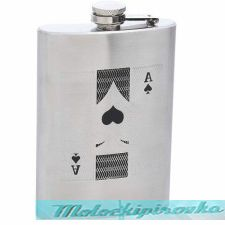 Ace of Spades Engraved 8 oz. Stainless Steel Flask